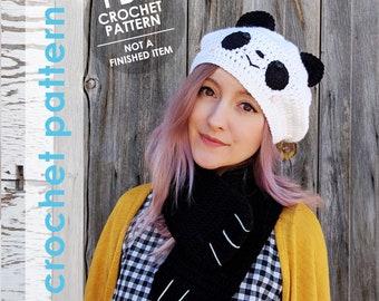 crochet pattern, panda hat, panda scarf, crochet hat, crochet scarf, crochet panda, crochet cowl, kawaii, amigurumi panda, gift for her