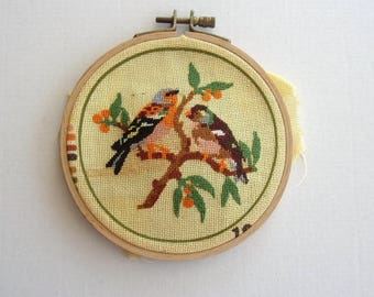 SMALL canvas was completed on drum - birds on branch