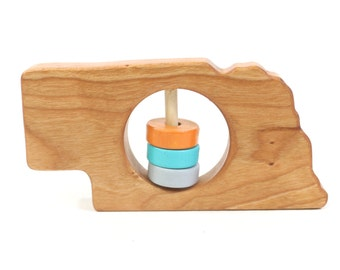 Nebraska State Rattle™ - Modern Wooden Baby Toy - Organic and Natural