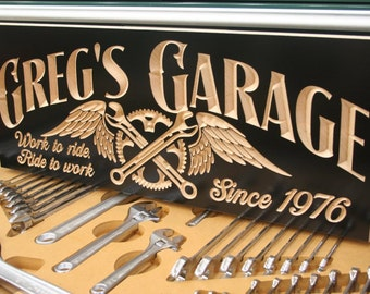 Motorcycle Sign, Garage Sign, Guy Gift, Tool Rules Signs, Man Cave Sign, Personalized Garage, Benchmark Signs, Maple SG