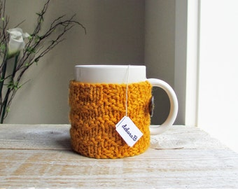 Knit Coffee Cozy, Coffee Sleeve, Cup Cozy, Coffee Mug Sleeve, Gift Under 20, Gift for Him, Wool Cozy, Gold, Yellow, Hand Knit, Gift for Mom