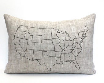 "map pillow, USA map gift, wedding gift, housewarming gift, map pillow, christmas gift ""The USA Map 2"""