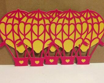 Set of 5 Hot Air Balloon Die cuts - Glitter Embellishments - Card - Scarpbooking Embellishments