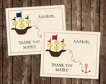 Pirate Birthday Thank You Cards, Anchor, Ships Ahoy, Ahoy Matey, Treasure, Map, Ship, Captain, Red, Navy, 20 Printed Cards, FREE Shipping