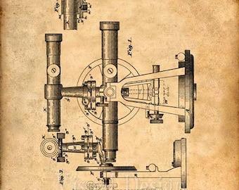 Surveyors Transit Patent Print From 1896 - Patent Art Print - Patent Poster - Engineer Art - Civil Engineer Gift