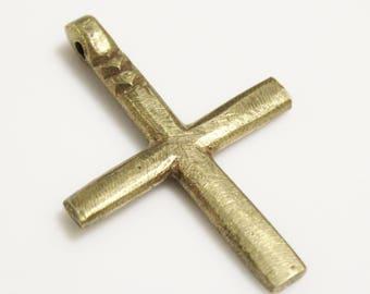 Simple Solid Brass Ethiopian Coptic Cross Pendant 62x43 mm, African Jewelry Supplies (AL114)