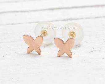 14K Solid Gold Small Butterfly Stud Earrings