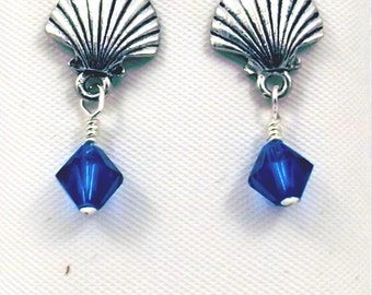 Pewter Shell Stud Earrings with Cobalt Blue Crystal Dangle - 0069