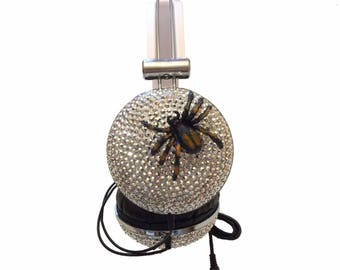 Blingustyle fashion spider silver diamante/crystals spider ear-cup headphone s