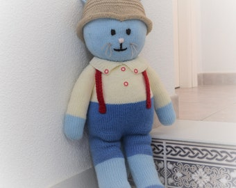 Boy Cat knitting pattern, Stuffed animal toy, Handmade soft toy, Handmade cat, Knitted stuffed cat, Knitting pattern for baby toy, Pdf