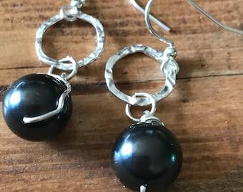 Black fresh water pearl and sterling silver earrings