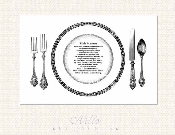 Table Manners Printable Placemat for Children Elegant