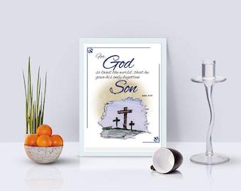 John 3:16  Printable download Bible Verse Christian art home decor downloadable printable wall décor