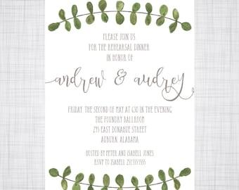 Rehearsal Dinner Invitation. Outdoor Wedding Invitation. Wedding Invitation. Eucalyptus Vine. Eucalyptus Watercolor.