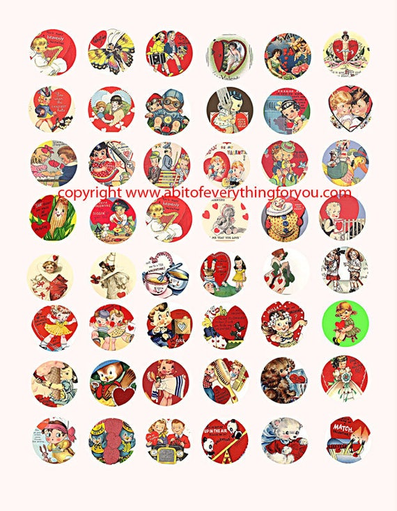 vintage Valentines cards clip art digital download collage sheet 1 inch circles graphics images printables for pendants pins magnets