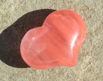 Strawberry/Cherry Quartz Puffy Heart Worry Healing Stone!