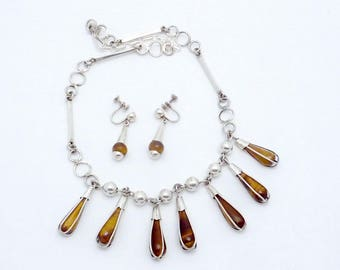 Vintage Taxco Mexican Sterling Silver Tiger Eye Drop Necklace Earrings 23321