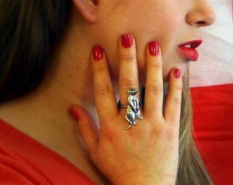 Meerkat Ladies Ring, Adjustable, English Pewter, Handmade in Great Britain (ab)