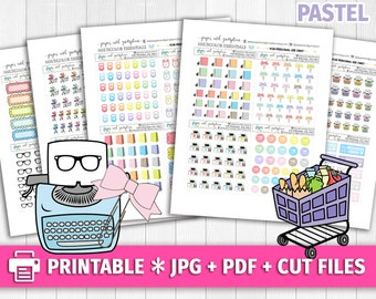 PASTEL Set 4 Multicolor Functional Deco/Printable Planner Stickers/for use with Erin Condren/Cutfiles/Summer Coffee Pink Cute