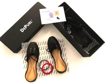 DePurl Women Matte Black Slip on Flat Shoe. Black, Leather