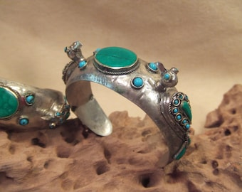 Tribal silver cuff bracelets-- old Kuchi jewelry -birds -- heavy patina( FREE SHIPPING SALE)