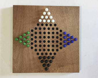 """12"""", Chinese Checkers, Game Board, 4 Player, Board Game, Glass Marbles, Marble Game, Marbles, Wood, Wooden, Game Boards, Family Fun, Gift"""
