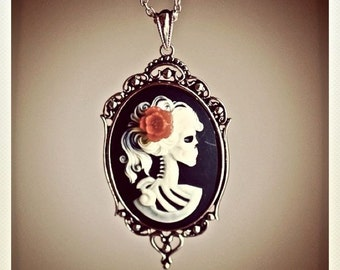 Miss Skeleton Gothic necklace - Lolita Zombie Cameo - 40x30mm - 6 Cameo Colors - 5 Flower Colors - Free Domestic Shipping