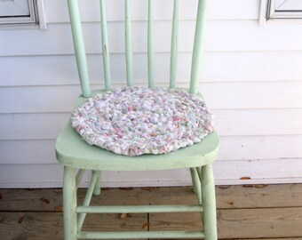 Rag Rug Braided Chair Pad, Chair Pad, Cottage Decor, Braided Rag Rug, Pastel, Shabby Cottage, Vintage Nursery, by mailordervintage on etsy