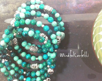 Blue green turquoise & silver beaded memory wire bracelet