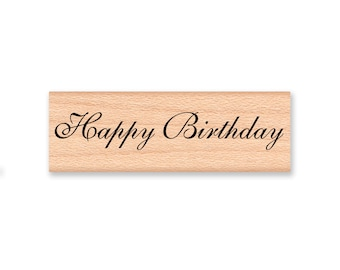 Happy Birthday-wood mounted rubber stamp(28-23)