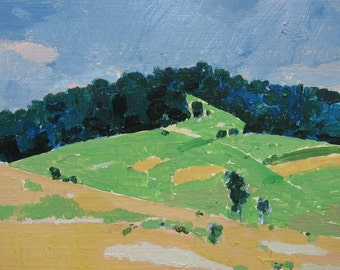 Coyote Hill at Harvest, Original Small Landscape Painting on Paper