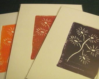Daisy abstract linocut