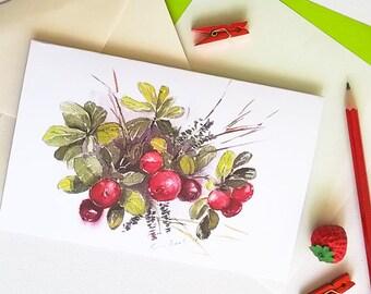 Greeting card / Lingonberries / Botanic / Nordic berry plant / From original watercolor painting