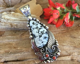White Buffalo Turquoise Pendent with Coral Wildflowers, Artisan Handmade, Sterling Silver, Southwestern  Jewelry, Large