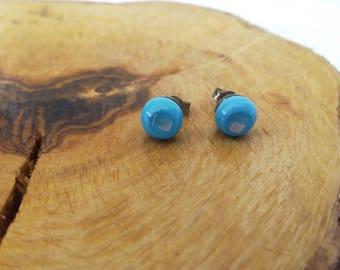 Azure, Blue stud earrings, Stud earrings, Post earrings, Glass earrings, Flower studs, Murano glass, Glass jewelry, Studs, Gift for fer