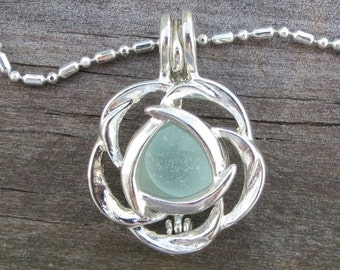 Aqua Sea Glass  Flower Necklace Locket Frosted Pale by Wave of Life