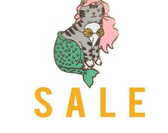 SECONDS SALE Mermaid Cat Enamel Pin - Mercat  enamel pin - cat mermaid - Mermaid enamel pin - Cute Cat enamel Pin - lapel pin hat pin