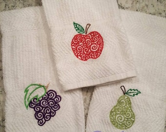 Embroidered Fruit Kitchen towels - Set of 3