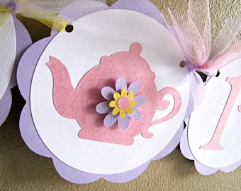 Tea Party Banner, Tea Party Birthday Party Banner, Tea Party Baby Shower, Teapot Banner, Girl 1st Birthday Banner, Tea Party Shower Banner