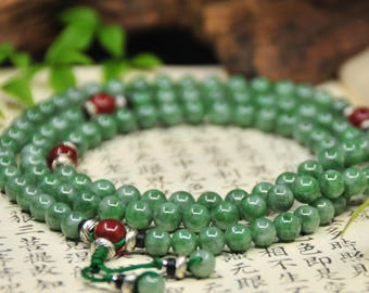 mala of jadeite and agate beads (翡翠.紅瑪瑙 念珠) -108 Mala Beads -Japa Mala -Prayer Beads -Yoga -Meditation -Mantra -Awakening -Energy
