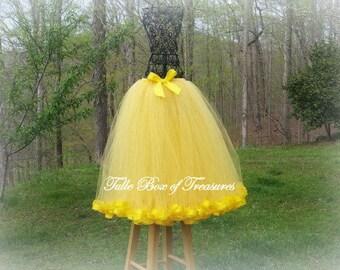 YELLOW Satin Ribbon Trimmed Long Tutu Skirt