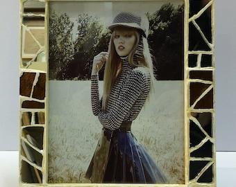Mosaic table frame in mirror mosaic, CM 20x25