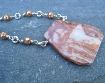 Jasper Slab Pendant, Long Silver Necklace, Copper and Silver, Mixed Metal, marbled Pendant, brown and white, layering necklace, SweetTaBou