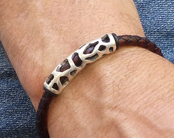 Mens Braided Leather Bracelet, Brown Leather Bracelet for Him, Silver Tube Beads Bracelet, Tribal Bracelet for Him, Decorative Mens Jewelry