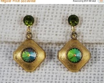 30% Off SALE Brushed Gold Tone Earrings with Olive Green Rivoli Rhinestones