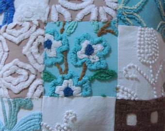 Sample Listing for Custom Made-To-Order Vintage Cotton Chenille Patchwork Pillow 12 Inches
