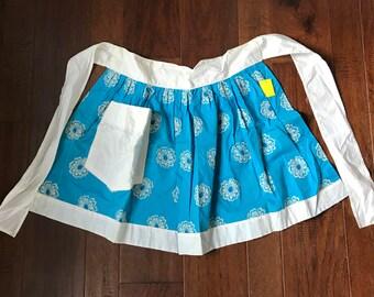 Vintage embroidered sky blue floral apron