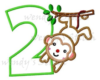 monkey birthday number 2 applique machine embroidery design