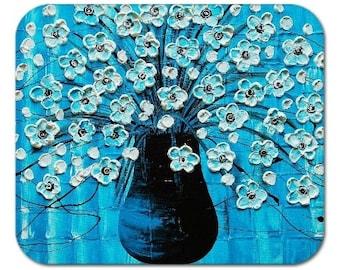 Mousepad Gel Mouse Pad Fine Art Painting Ocean Blossoms Blue Aqua Turquoise Flowers in a Vase