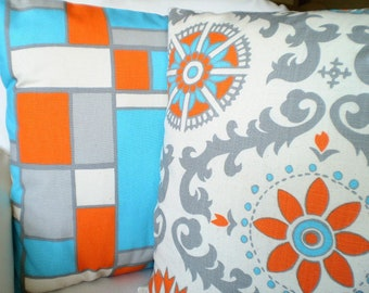 Orange Aqua Pillow Covers, Decorative Throw  Pillows, Cushions, Gray Orange Aqua Cream Grey Rosa and Hopscotch, Set of Two Various Sizes